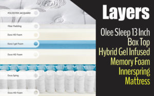 Olee Sleep 13 Inch Box Top Hybrid Gel Infused Memory Foam Innerspring Mattress Layer