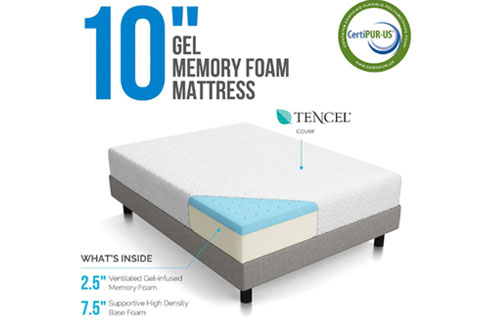 Cover of LUCID 10 Inch Gel Memory Foam Mattress