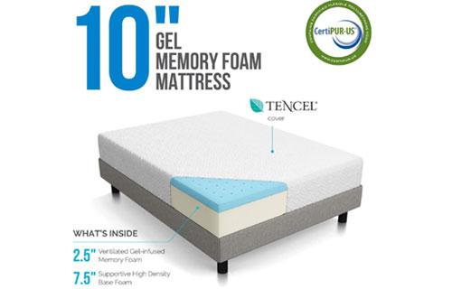 Cover of LUCID 10 Inch Gel Memory Foam Mattress