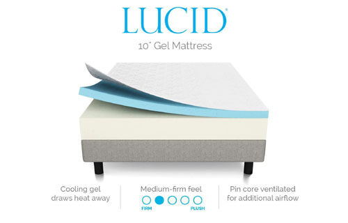 "Layers of LUCID 10"" Gel Memory Foam Mattress"