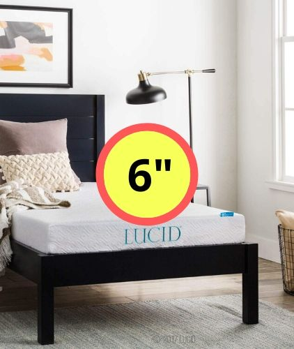 LUCID 6 Inch Dual-Layered Gel Infused Memory Foam Firm Mattress
