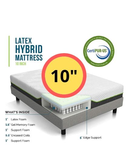 Lucid 10 Inch Latex Hybrid Queen King Full Mattress