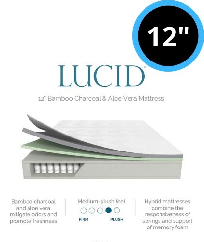 Lucid 12 Inch Hybrid Bamboo Charcoal and Aloe Vera Infused Memory Foam Mattress